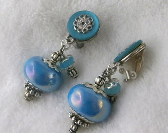 Earring clip turquoise Moon (made in France)
