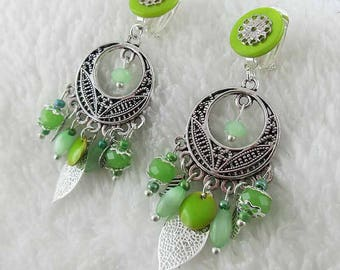 Mediterranean green clip earrings