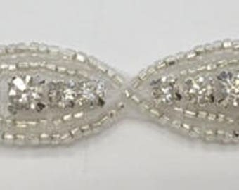 """ModaTrims Hot-Fix or Sew-On Beaded Crystal Rhinestone Trim  (clear Crystals, silver Beads, 5/8"""" Wide) - rhs-trm-1268-silver"""