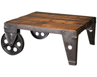 Coffee Table Industrial Modern Factory Shop Wood Steel and Iron Cart