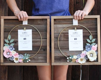 Felt Flowers, Small Ring Floral Frame Set of 2, both hold 4x6 vertical photo, coordinate to match, nursery decor, gift for her