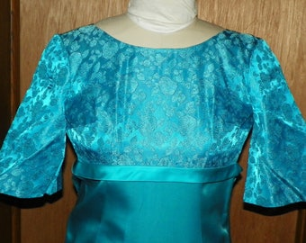 Elegant Turquoise Blue Floral Brocade Satin Long Dress Empire Waist and Bell Sleeves Hand Sewn 1950's Party Attire No Tag Measurements Below