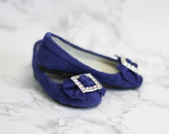 bjd shoes: blue flat shoes for 1/3 SD doll