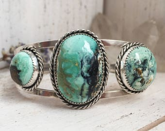 Silver turquoise cuff bracelet - apache turquoise w/ sterling & fine silver, OOAK, adjustable, twisted wire accents, bohemian gifts for her