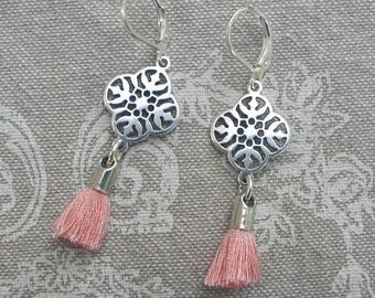 "Stylized ""Coral pink lace"" earrings"