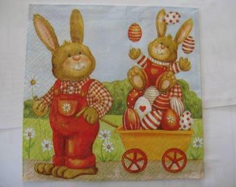 set of 2 Easter bunnies paper napkins