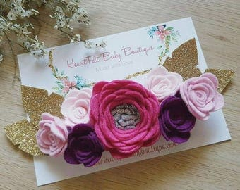Pink and Purple Flower Crown