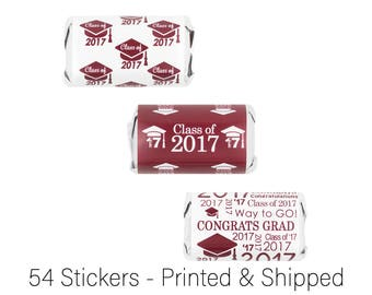 Maroon Class of 2017 Graduation Labels - Senior Class of 2017 Grad Candy Wrapper Stickers for Hershey Miniature Bars - Set of 54