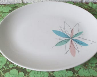 Vintage Shenango China Serving Platter in Atomic Mod Flower, 1959, Restaurant Ware
