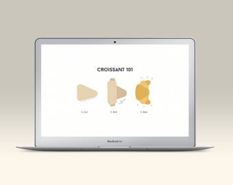 Croissant Desktop Wallpaper, Croissant Illustration Background, Minimalistic Screensaver Pastry Design, Computer and Laptop Instant Download