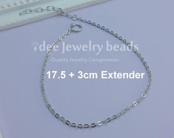 Solid 925 Silver Bracelet Chain 17cm plus 3m Extender, Solid 925 Sterling Silver with Rhodium Plated for Anti Tarnish. No.650