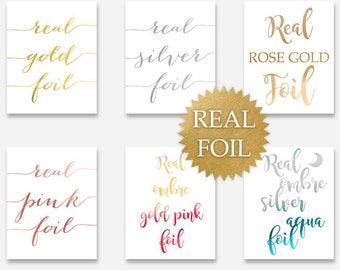 REAL FOIL 8x10 5x7 Print, Gold Foil, Silver Foil, Pink Foil, Rose Gold, Ombre Foil Aqua, Black or White Paper, Typography Printing Service