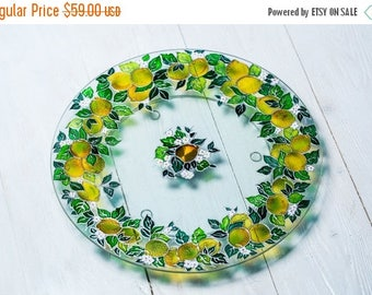 ON SALE Hand Painted Cake Stand - Stained Glass Cake Plate - Swivel Pate with Lemons - Pizza Serving Dish - Large Glass Serving Plate