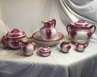 1800's, Pitcher and Wash Bowl Set, 12 Piece Pottery, Baltimore, Haynes, Victorian, Vanity Set, Chamber Pot 1900's,