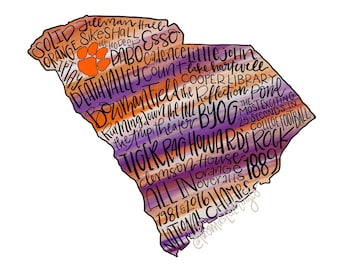 DIGITAL DOWNLOAD Clemson University Printable Wall Art, South Carolina, Orange and Purple, Clemson Tigers,  College football, Go Tigers