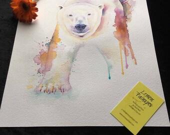 Polar Bear Original Painting Original Watercolour polar bear painting animal art polar bear painting polar bear art Home décor art picture