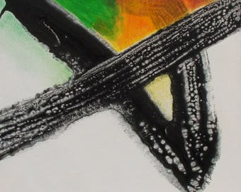 Abstract acrylic and oil pastel painting - Titled, Wood