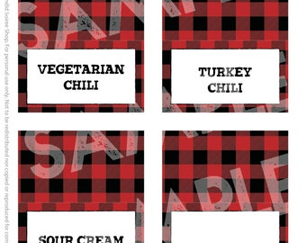 Buffalo Plaid Small Tent Menu Cards // Blank Place Cards // Lumberjack Party // 3.5x2 inches // Instant Digital Download PDF