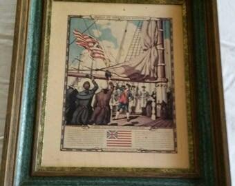 vintage framed cardboard print - john paul jones hoist our first u s flag - n c wyeth picture litho - historic flags usa american americana