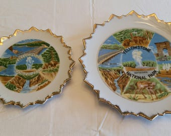 2 antique collector plates yellowstone national park w/ pointed rim edge and gold trim - old faithful - grand canyon - theodore roosevelt