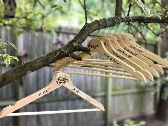 CUSTOM CALLIGRAPHY Wooden Wedding Hangers, Calligraphy, Wedding Gifts, Bridesmaids Gifts, Personalized, Bride Wedding Hanger