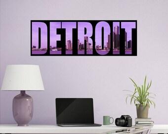 Detroit Wall Decal - Detroit Decals - City Skyline Decal - Detroit Skyline - City Silhouette - Detroit City Skyline