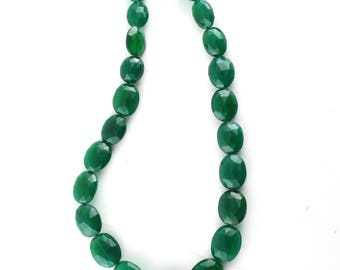 AAA Quality Green Onyx Oval Faceted Beads, Super Fine Green Onyx Beads, 13 Inch Long String, 9 x 12 to 13 x 19 mm Approx