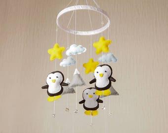 Boy Nursery Decor Baby Boy Mobile Mountain Mobile Baby Mobile Crib Mobile Penguin Nursery Mobile Neutral Mobile Mountain Nursery Felt Mobile