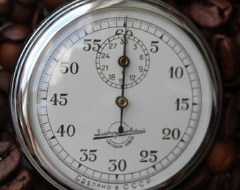 Soviet stopwatch Zlatoust, chronometer USSR, mechanical pocket stopwatch, working.