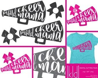 4 Proud Cheer Mama svgs - Cheer Mom svg - Cheer Megaphone svg - Cheer Mom Shirt Design - Mama svg - Cheer svg - Cheerleading svg
