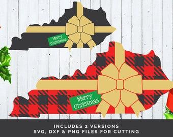 Kentucky Christmas svg - Christmas Present svg - Buffalo Plaid Kentucky svg - Christmas svg file - Holiday svg file - State svg