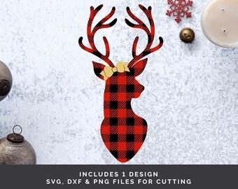 Christmas Deer svg - Christmas Reindeer svg - Deer Silhouette svg - Buffalo Plaid svg - Deer Head svg - Deer svg files - Deer svg