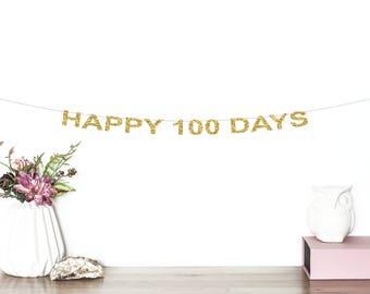Happy 100 Days Glitter Banner | Baby's 100th Day Banner | Birthday Banner | 100 Days Celebration | 100 Days | Baby's Birthday Banner | Gold