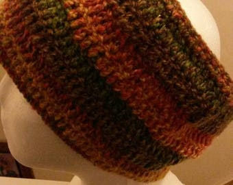 Chunky crochet wide headband in autumn browns.