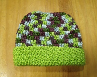 New Handmade Crochet Lime Green Variegated Ponytail Messy Bun Hat Beanie