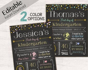 First Day of School Sign Chalkboard Print, two color options, Editable Text, DIY, Chalkboard Sign, Kindergarten, Stars, INSTANT DOWNLOAD
