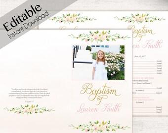 Baptism Program, Editable PDF, Printable Handout Girl Baptism, white pink flowers gold, photo, watercolor, Girl Baptism, Program Template
