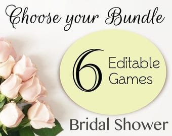 Bridal Shower Games Set, Choose your bundle, choose your set, 6 games, Bridal shower printable, Editable Games Bridal Shower Set Pack