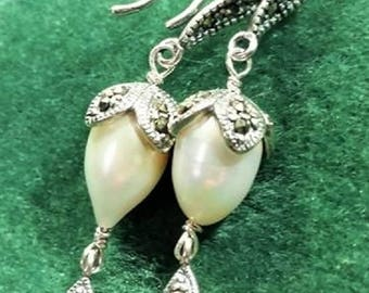 Pearls and Marcasite Earrings