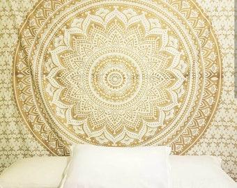 Mandala tapestry gold wall tapestry Mandala wall hanging Boho decor Bohemian gold mandala gold tapestry mandala wall hanging boho tapestry