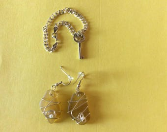 Yellow Sea Glass Earrings & Sterling Chain with Key