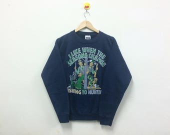 Rare!!! Vintage 80s Sweatshirt Fishing To Hunting Mens
