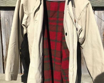 Vintage LL Bean Womens Small Tan/Beige Button Barn Coat with Red Plaid Wool Lining