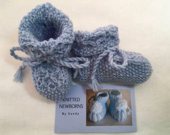 Hand Knitted Baby Booties in blue merino wool