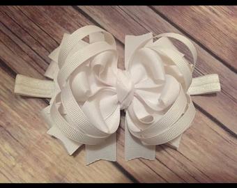 Baby Toddler OTT Bow HeadBand White