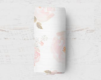 Floral Swaddle Blanket READY TO SHIP Baby Blanket Muslin Swaddle Floral Wrap Newborn Gift Baby Girl Baby Shower Present Receiving Blanket