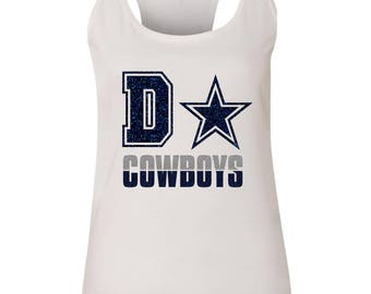Dallas Cowboys Glitter Ladies Racerback Tank Top