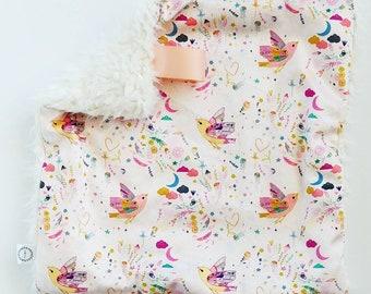 Watercolor Bird Lovey, Minky Lovey, Faux Fur Lovey, Bird Lovey, Girl Lovey, Pink Lovey,  Star Lovey, Peach Lovey, Color Lovey, Rainbow Lovey