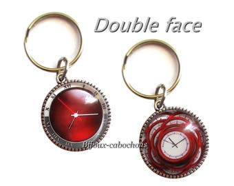 Keychain, Cabochon Clock Watch, Glass, Double Sided, red Color, Jewelry Bag