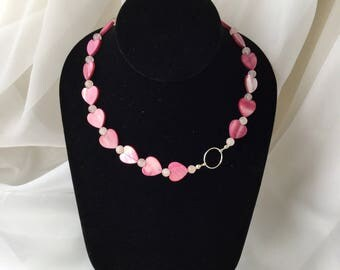 Pink Heart MOP Necklace with Semi Precious Beads and Sterling Silver Charm